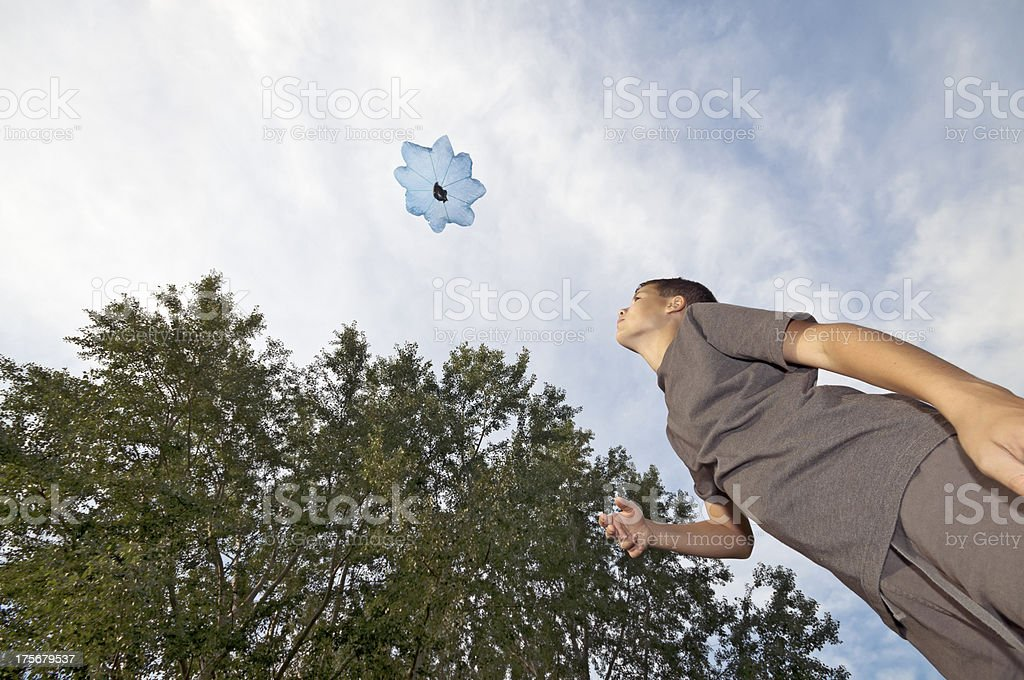 Playing with parachute toy stock photo