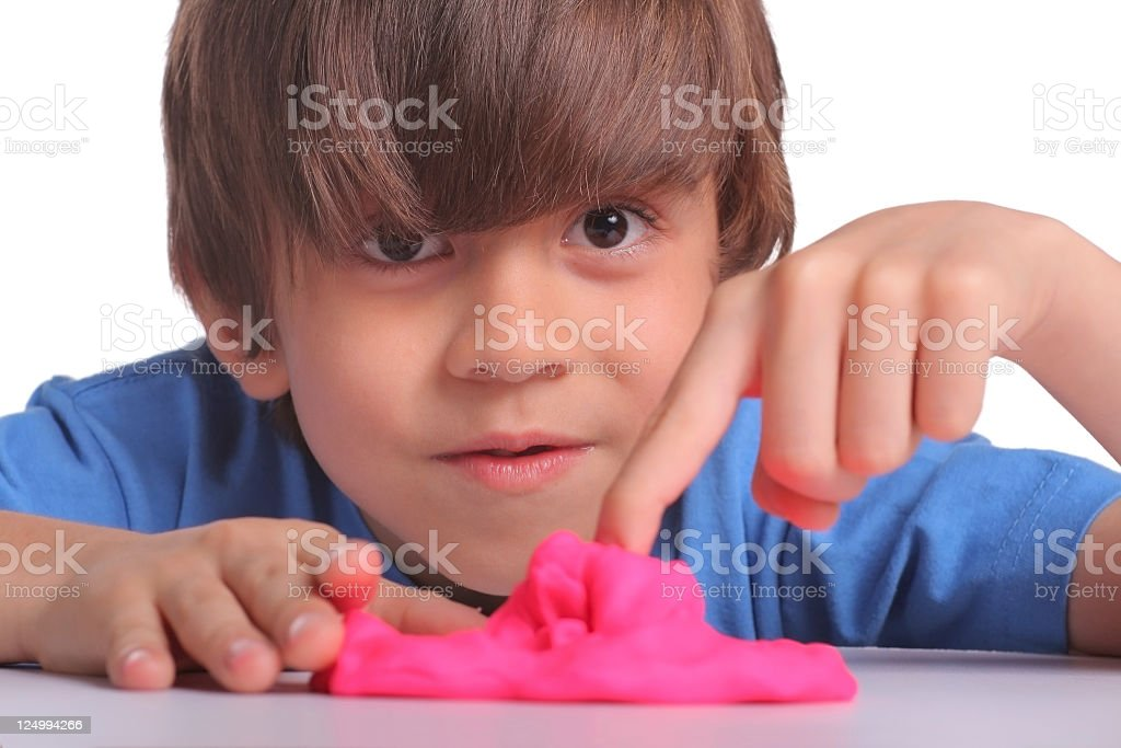 Playing with plasticine royalty-free stock photo