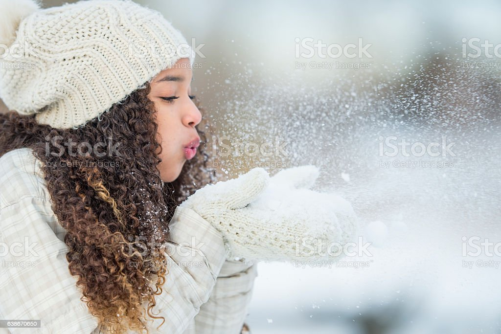 Playing with Snow Outside stock photo