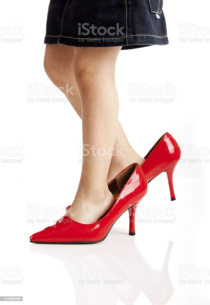 Playing with the red shoes royalty-free stock photo