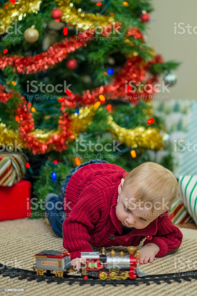 Playing with Toys on Christmas stock photo