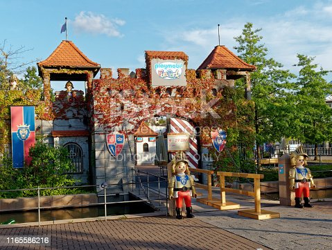 Zirndorf, Germany - August 1, 2019: Entrance of Playmobil Funpark in Zirndorf at a sunny day. Playmobil is worldwide a very sucessfull Toy line, created by the german geobra Brandstaetter company in Zirndorf.