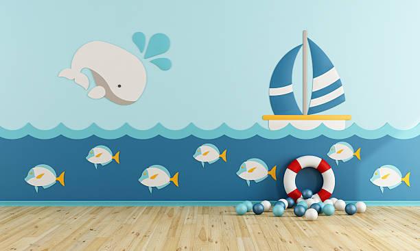 playroom in marine style - kinderzimmer wand stock-fotos und bilder