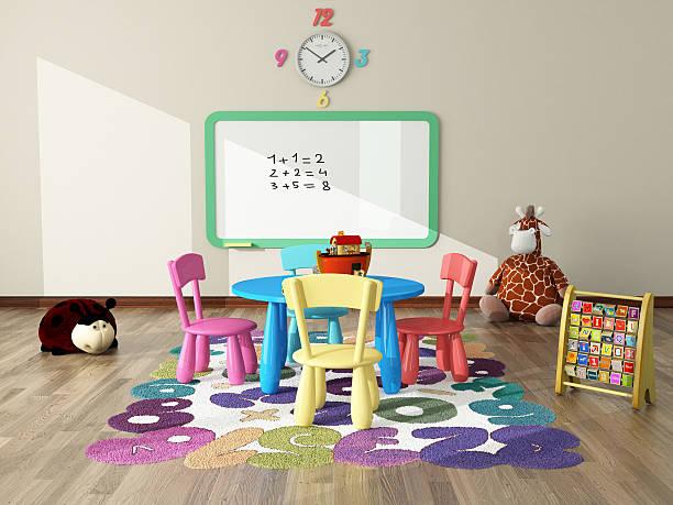 spielzimmer mit spielzeug und weichen - kinderzimmer tischleuchten stock-fotos und bilder