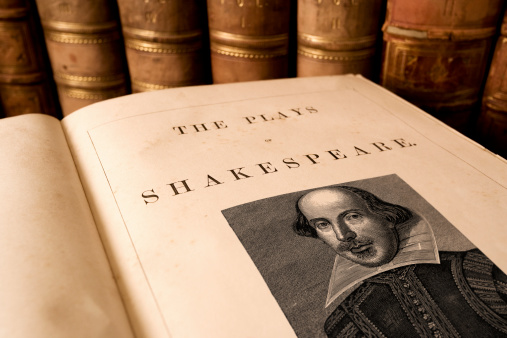 The title page from an antique book of the plays of Shakespeare