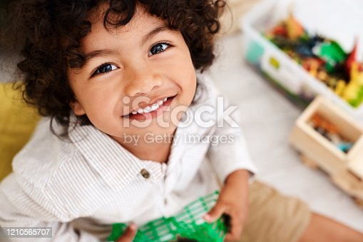 Portrait of an adorable little boy sitting on the floor and playing with his toys at home