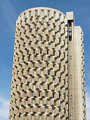 Honey comb style multistory plaza with a capsule lift.