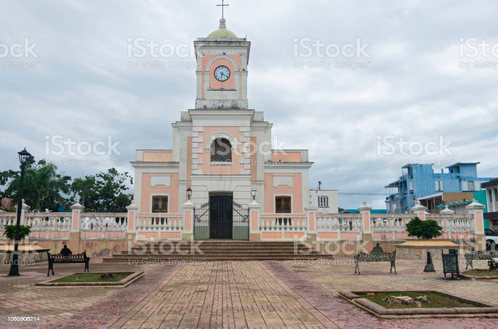 Plaza and Cathedral in Fajardo stock photo
