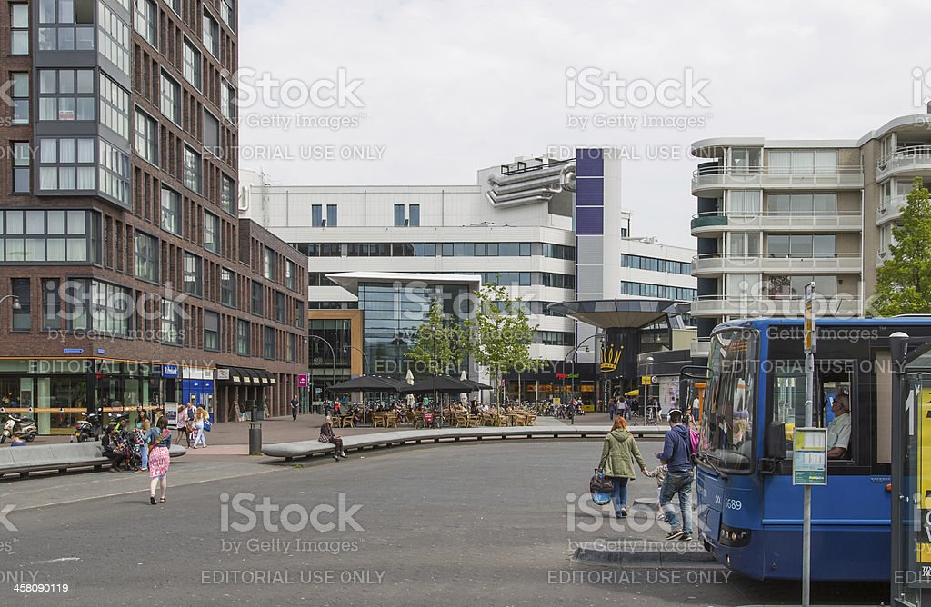 Plaza before central station of Lelystad, the Netherlands royalty-free stock photo