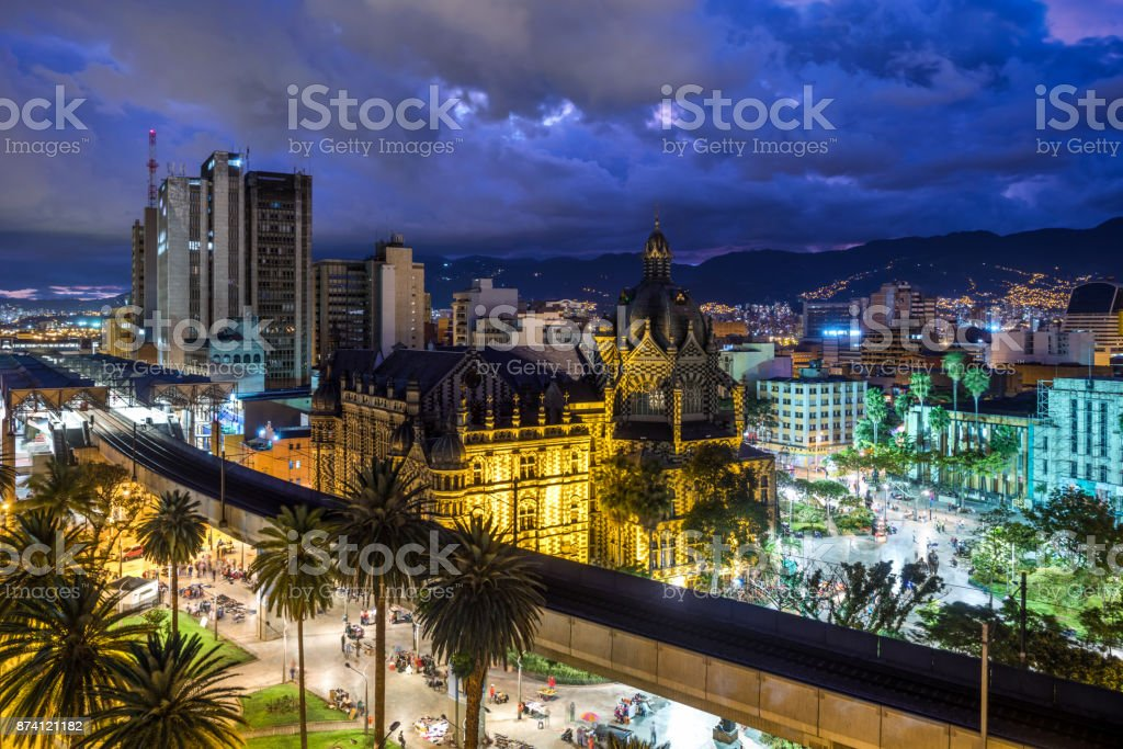 Plaza Botero Square and Downtown Medellin at Dusk in Medellin, Colombia stock photo