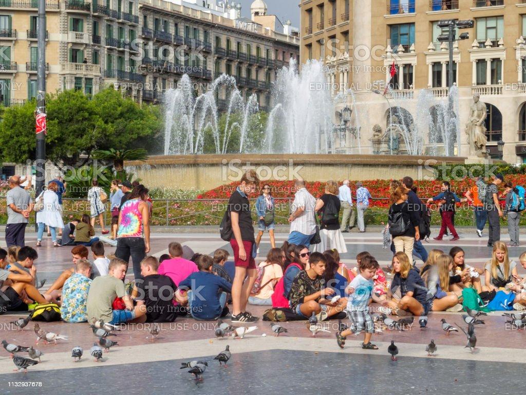 Plaza Catalunya - Barcelona stock photo
