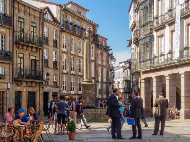 Plaza Cervantes - Santiago de Compostela stock photo