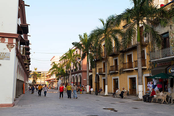 Plaza Constitucion Veracruz port stock photo
