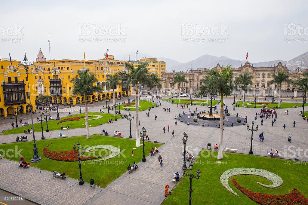 Plaza de Armas, Lima Peru stock photo