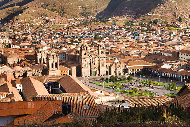 Plaza de Armas of Cuzco, Peru, Landscape of South America stock photo