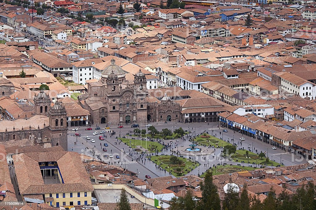 Plaza de Armas of Cuzco, Peru stock photo