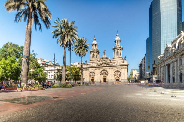 Plaza de Armas Square and Santiago Metropolitan Cathedral - Santiago, Chile Plaza de Armas Square and Santiago Metropolitan Cathedral - Santiago, Chile chile stock pictures, royalty-free photos & images