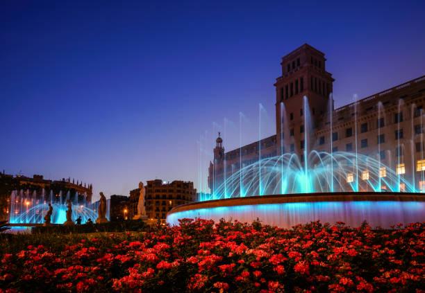 Plaza de Catalunya fountains stock photo