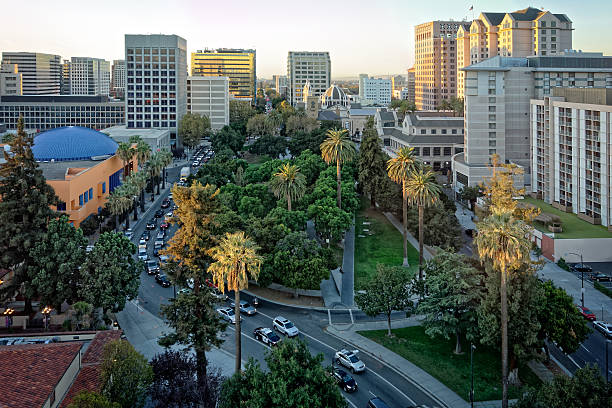Plaza de Cesar Chavez San Jose stock photo