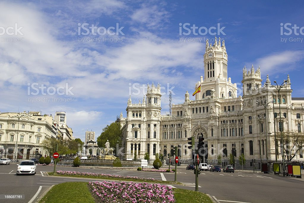 Plaza de Cibeles in Madrid, Spain. stock photo