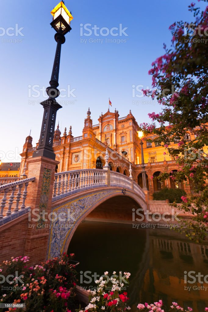 Plaza de España from Seville at dusk royalty-free stock photo