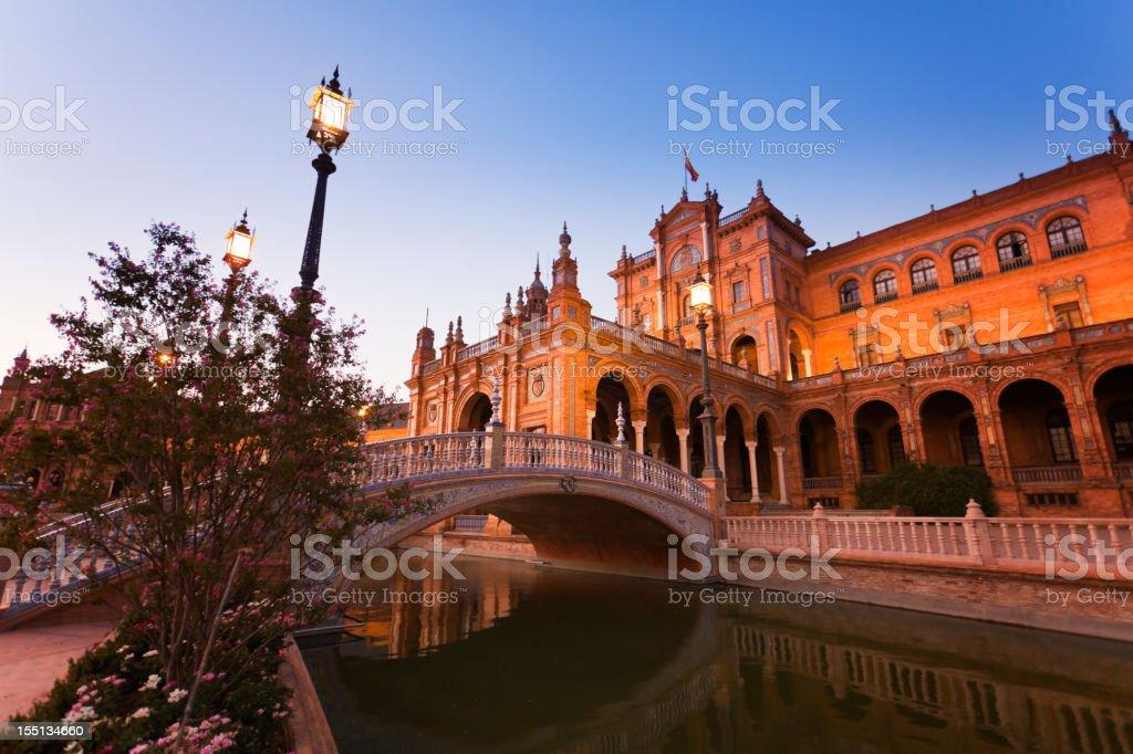 Plaza de España from Seville at dusk royalty-free stock photo