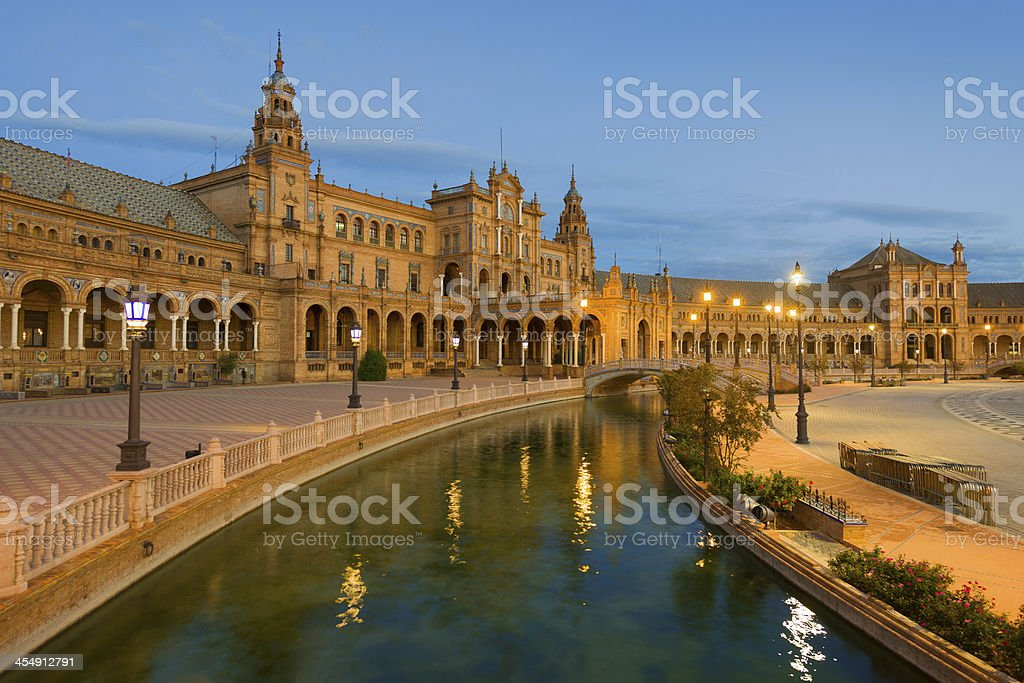 Plaza de España at night royalty-free stock photo