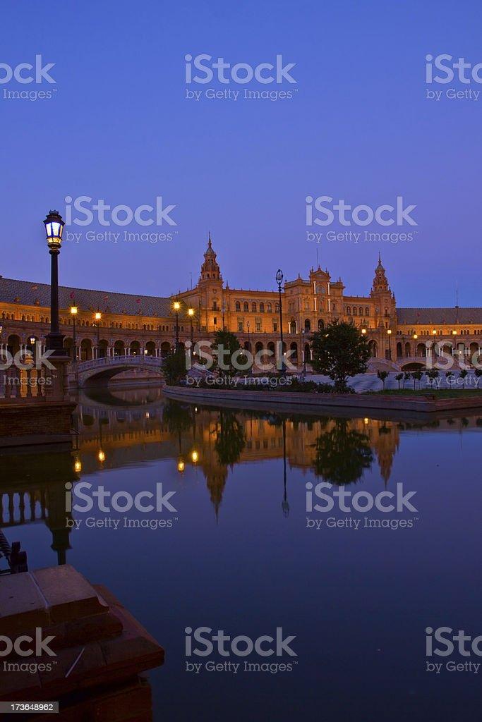 Plaza de España at night, Sevilla royalty-free stock photo