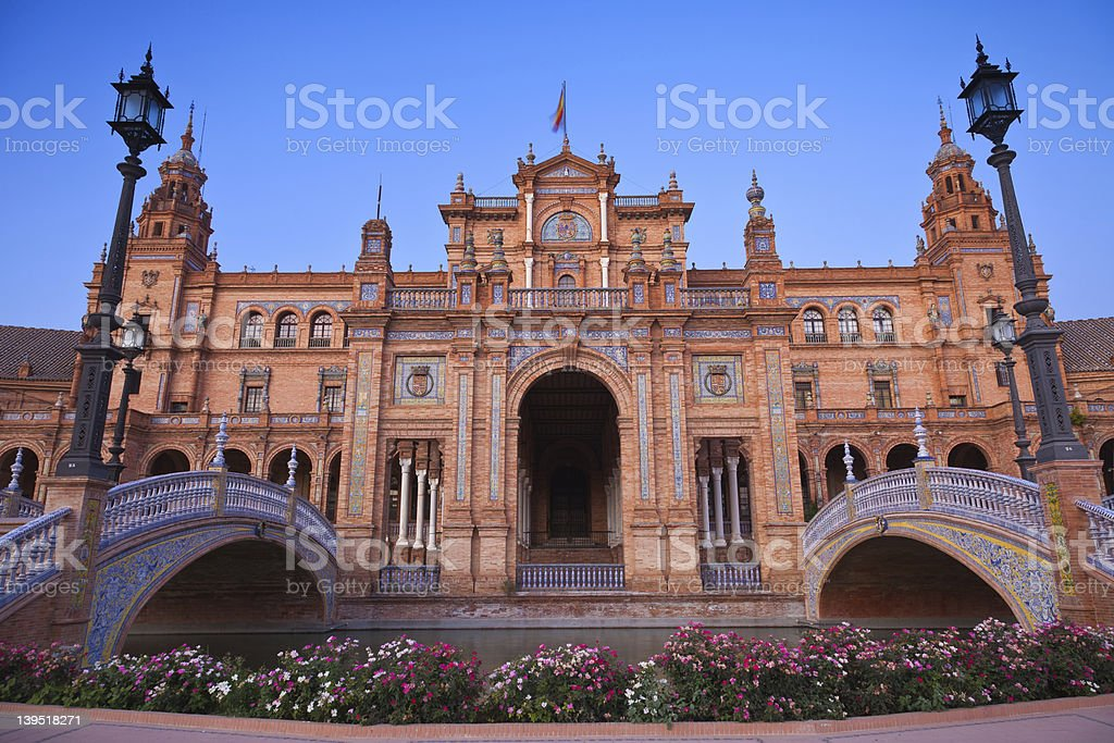 Plaza de España in Sevilla at sunset, Spain. stock photo