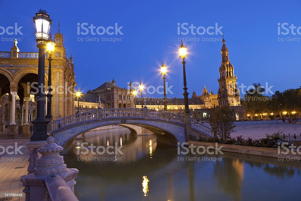 Plaza de España in Sevilla at night, Spain. royalty-free stock photo