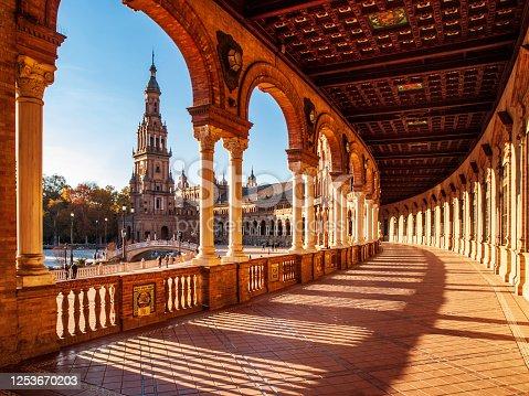 istock Plaza de España in Seville 1253670203
