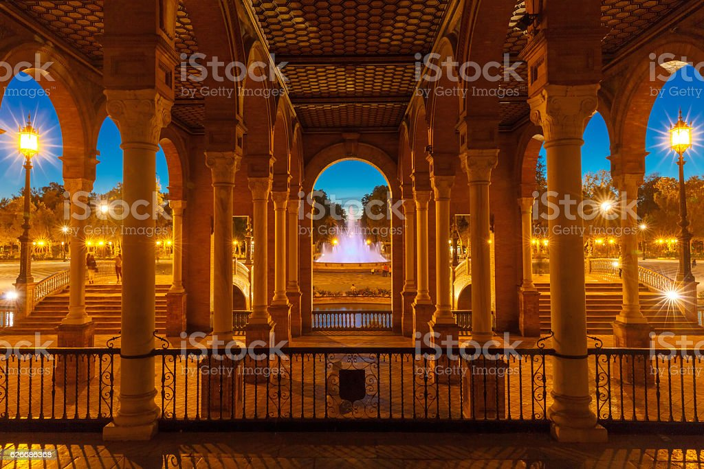 Plaza de Espana at night in Seville, Spain stock photo