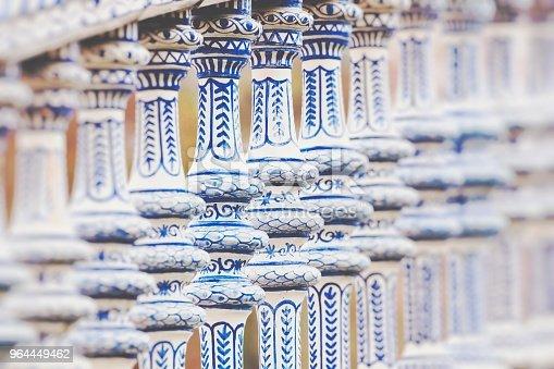Plaza de Espana blue balustrade detail in Sevilla, Andalusia, Spain.