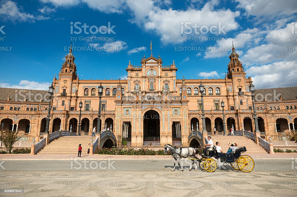 Plaza de Espana in Seville, Andalusia stock photo