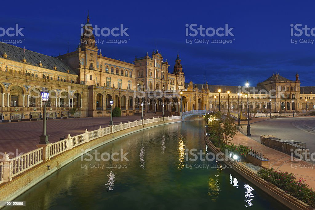 Plaza de Espana in Seville at night stock photo