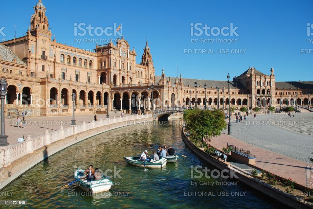 Plaza de Espana moat, Seville stock photo