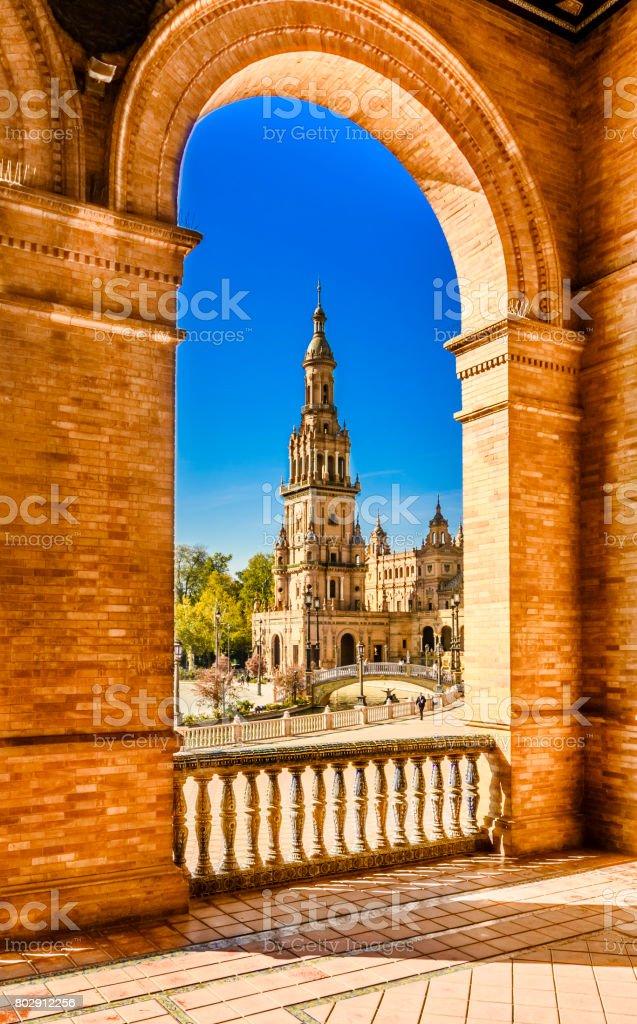 Plaza de espana Seville, Andalusia, Spain. stock photo