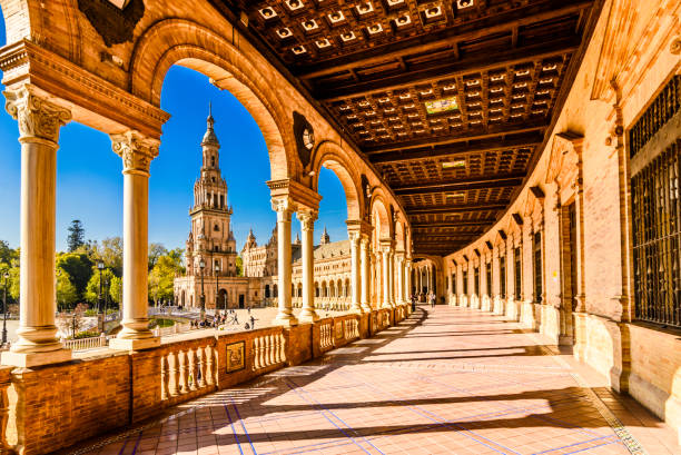 Plaza de espana Seville, Andalusia, Spain. Plaza de espana-Spain square-Seville, Andalusia, Spain, Europe. Traditional bridge detail seville stock pictures, royalty-free photos & images