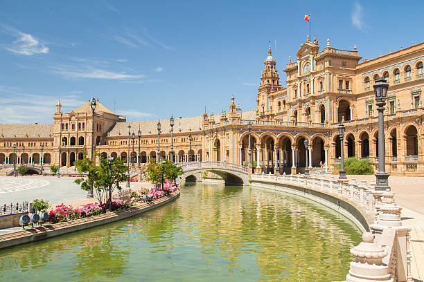 plaza de espana sevilla plaza de espana sevilla seville stock pictures, royalty-free photos & images