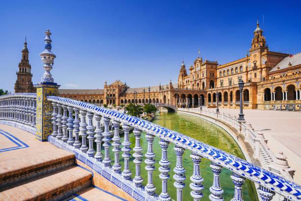 plaza de españa, séville - andalousie photos et images de collection
