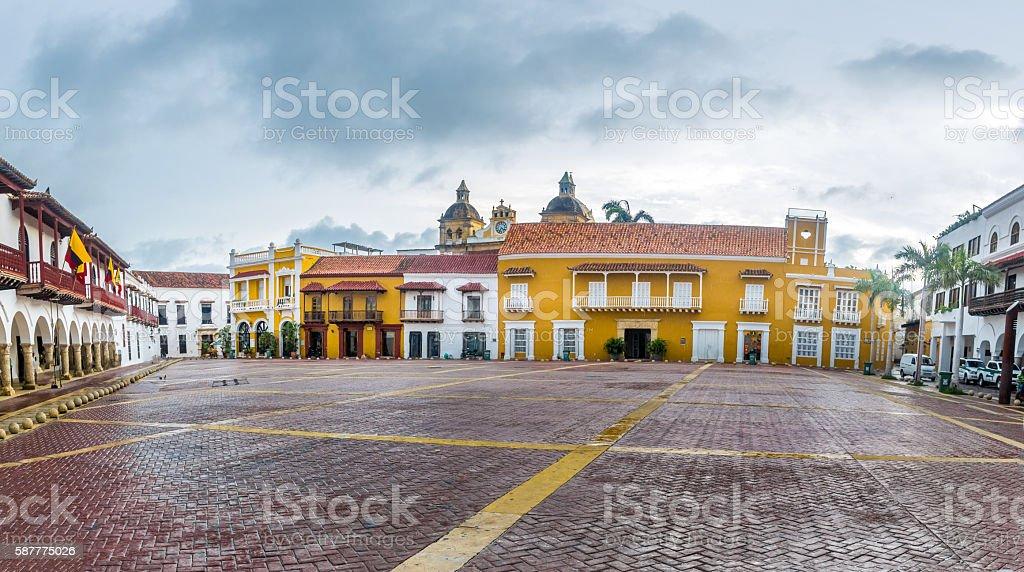 Plaza de la Aduana - Cartagena de Indias, Colombia stock photo