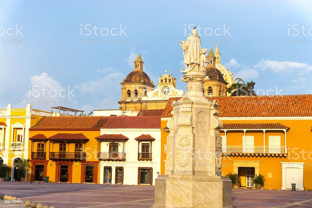 Plaza de la Aduana in Cartagena stock photo