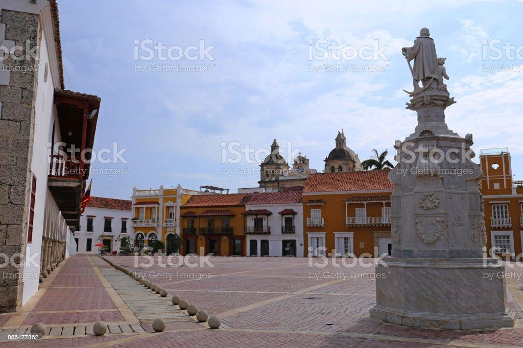 Plaza de la Aduana in the colonial center of Cartagena, Colombia stock photo