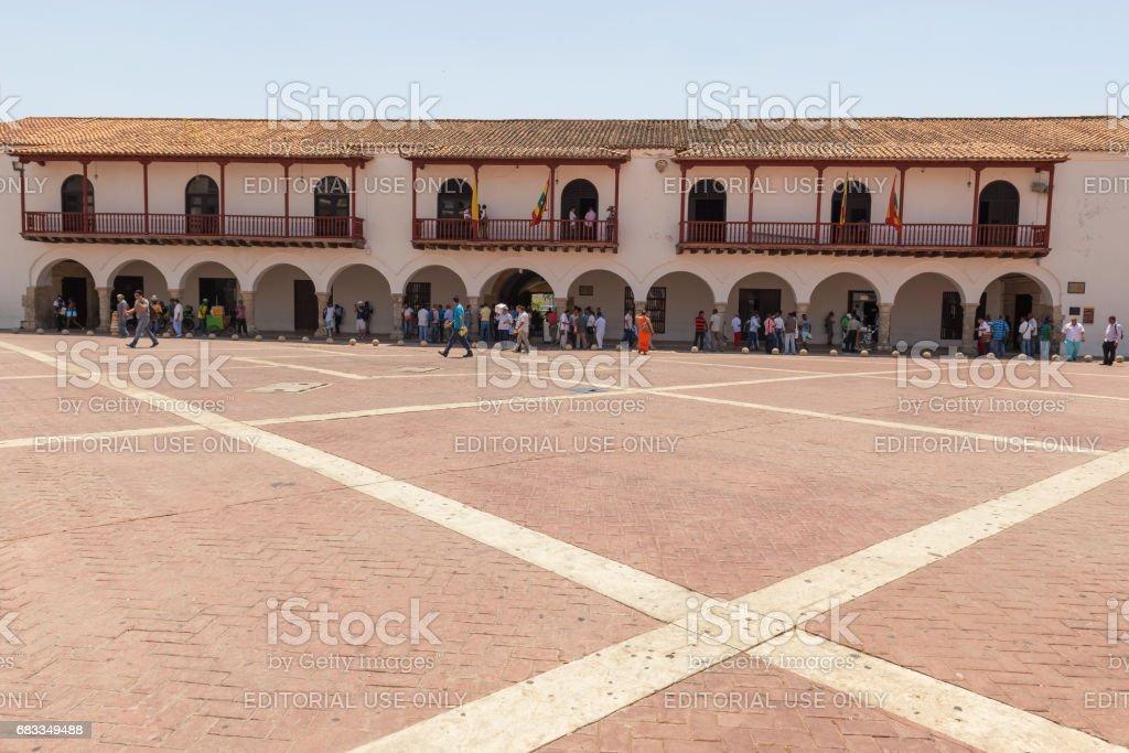 Plaza de la Aduana is cobble stone square located in historic part of Cartagena, Colombia stock photo
