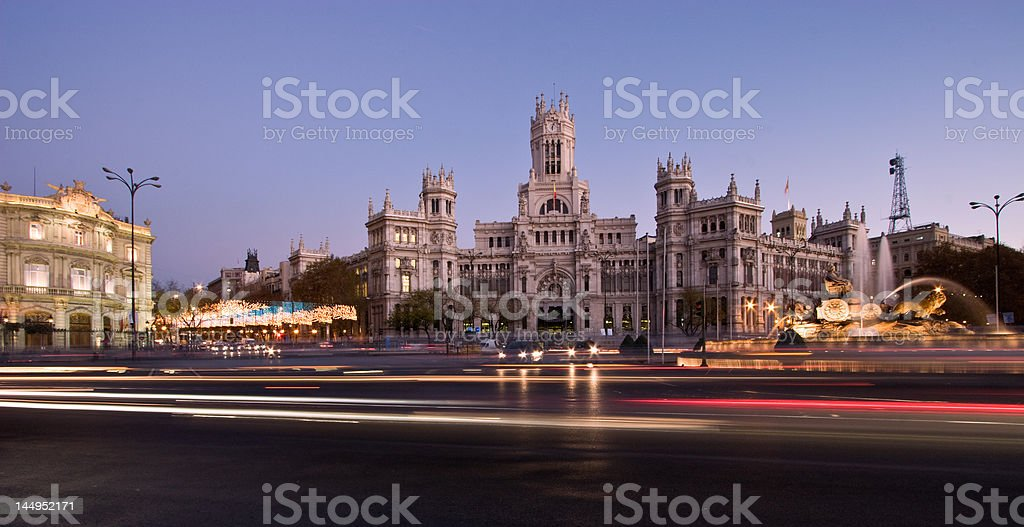 Plaza de la Cibeles Panorama stock photo