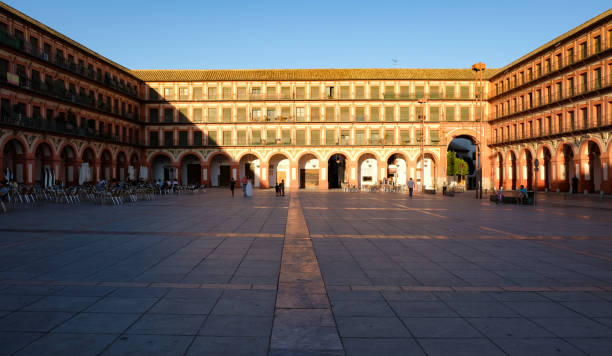Plaza de la Corredera in Cordoba Cordoba, Spain - July 28, 2019: Plaza de la Corredera, from the 17th century, at sunset cordoba spain stock pictures, royalty-free photos & images