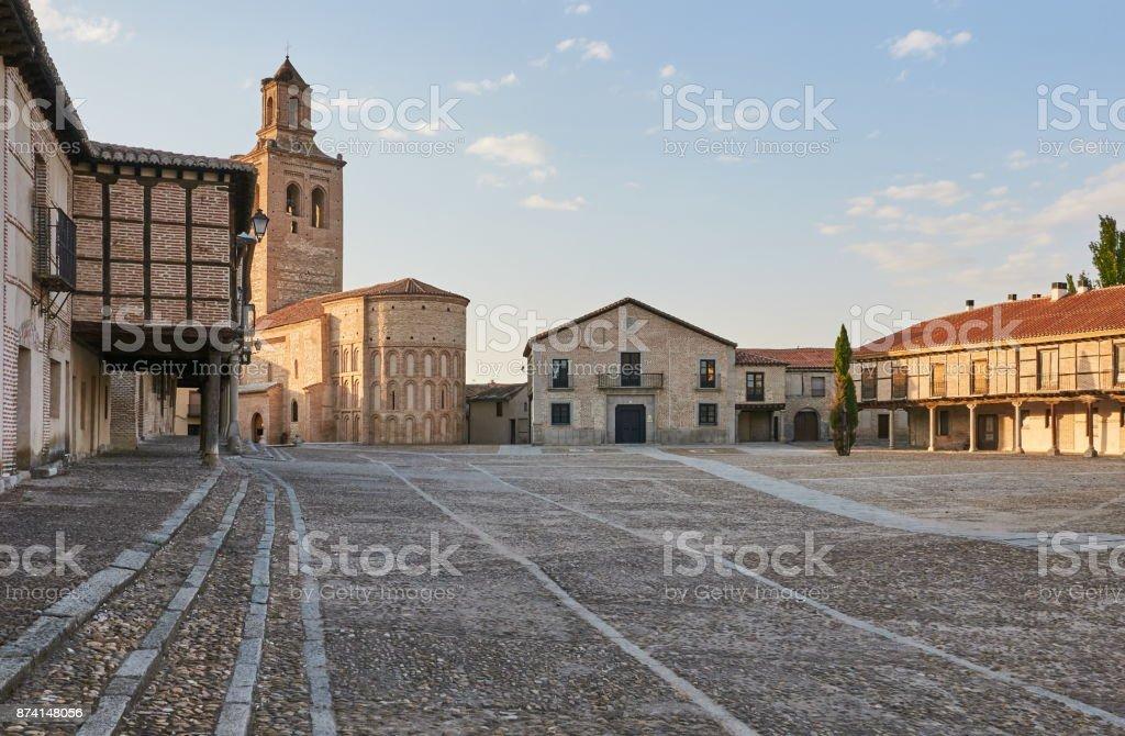Plaza de la Villa and Santa Maria chuch (Square of the Village), Arevalo, Avila, Spain stock photo