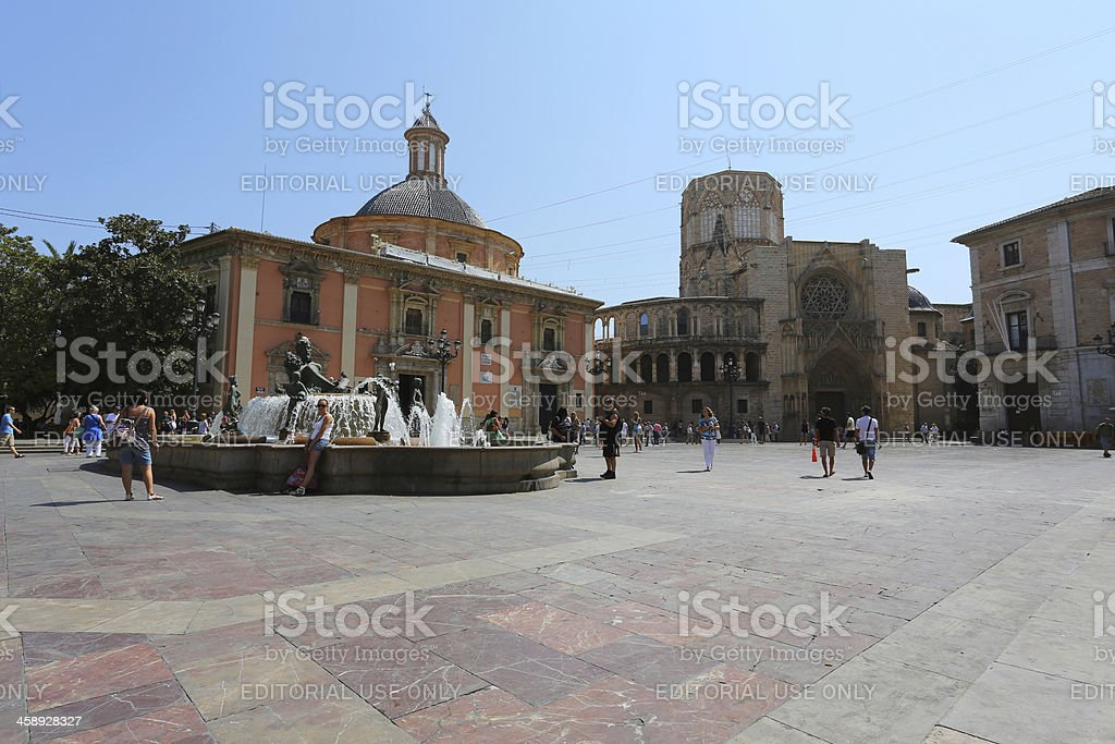 Plaza de la Virgen, Valencia stock photo