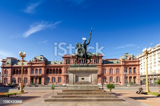 Photo of Plaza de Mayo, at Buenos Aires, Argentina, The statue of General Manuel Belgrano and 'The Casa Rosada' are on background.
