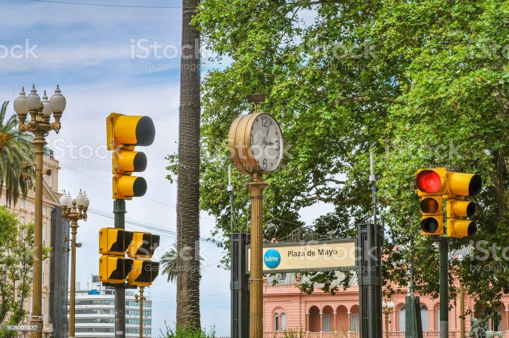 Plaza de Mayo signs stock photo